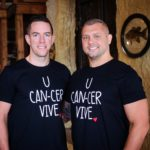 Mike and Rob wearing U CAN-CER VIVE t-shirts supporting Who's Your Bartender?